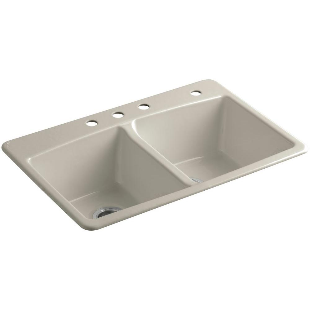 KOHLER Brookfield Drop-In Cast Iron 33 in. 4-Hole Double Bowl Kitchen Sink in Sandbar