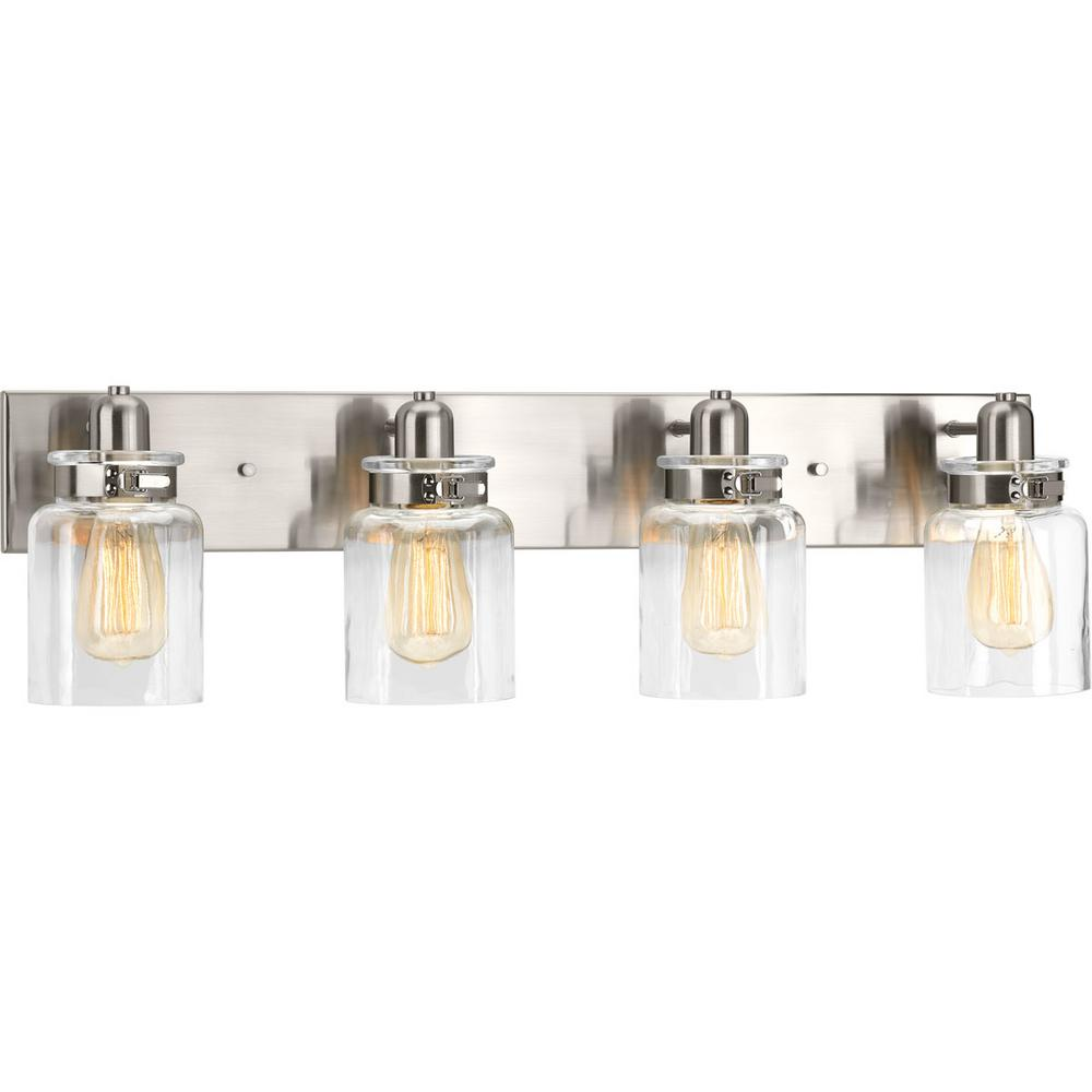 Calhoun Collection 4-Light Brushed Nickel Vanity Light with Clear Glass Shades
