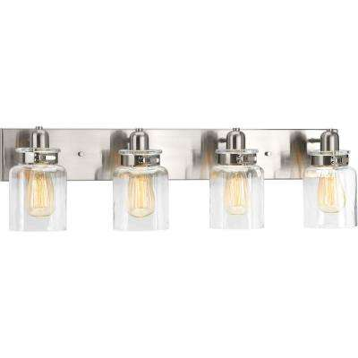 Calhoun Collection 4-Light Brushed Nickel Bathroom Vanity Light with Glass Shades