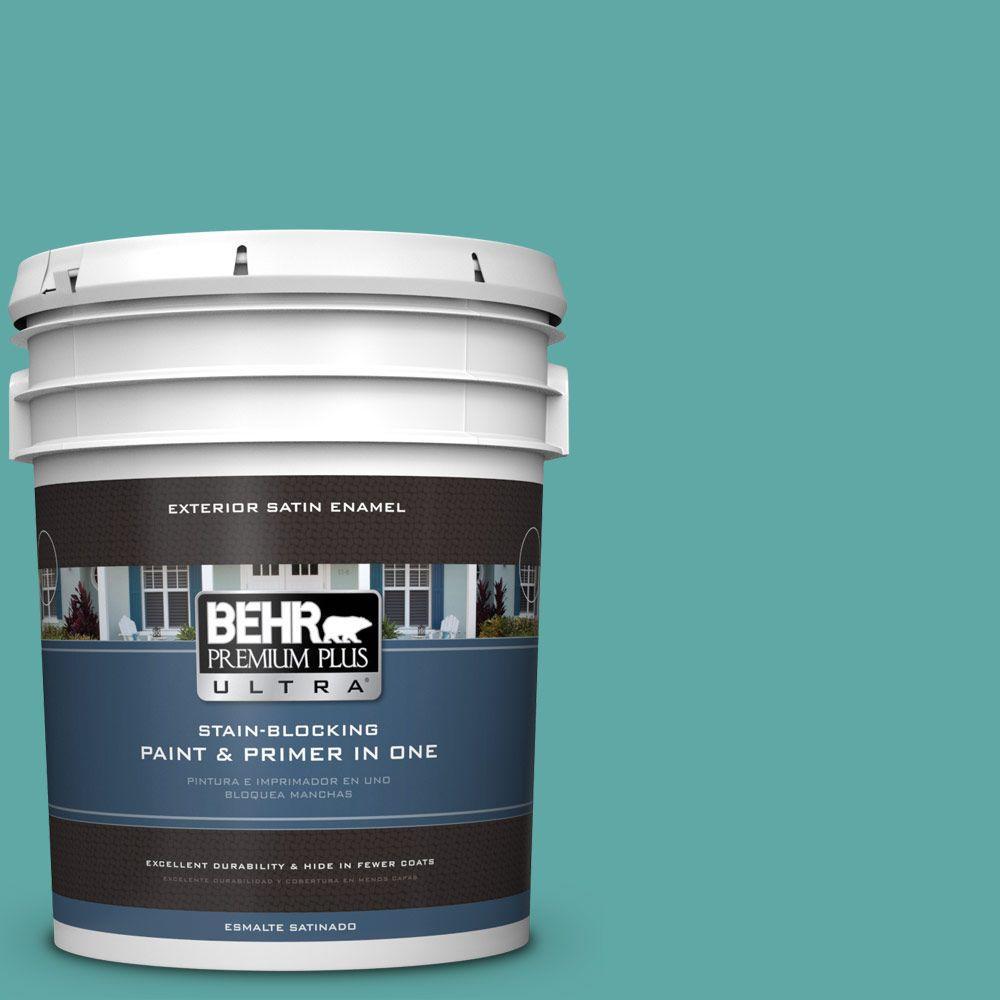 BEHR Premium Plus Ultra 5-gal. #500D-5 Teal Zeal Satin Enamel Exterior Paint