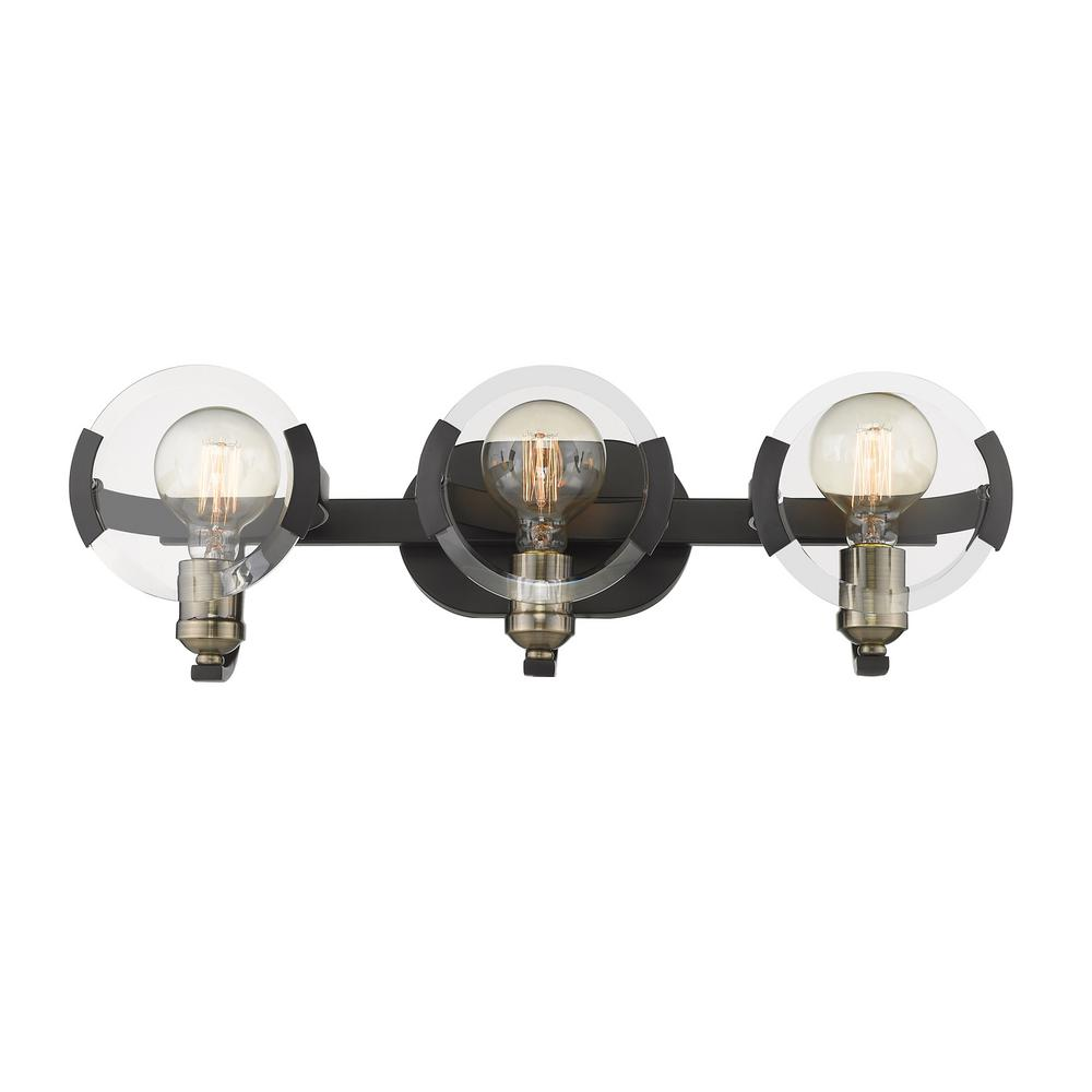 Golden Lighting Amari 3 Light Black With Aged Br Accents Bath Vanity