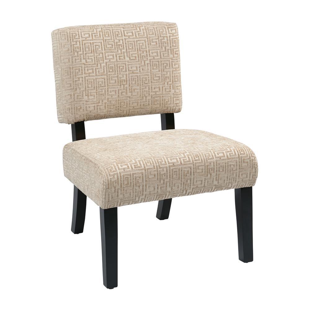 OSP Home Furnishings Jasmine Oyster Accent Chair Our attractive, comfortable Jasmine Accent Chair is the perfect piece to make any room in your home come alive . The solid wood leg construction adds a sense of elegance allowing for a mix of both modern and classic design preferences. Available assortment of high-performance, stunning fabrics make for a one of a kind style . Color: OYSTER.