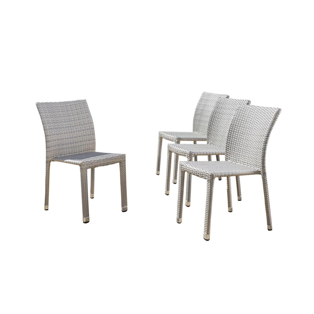 Lucian Chateau Grey Stackable Armless Wicker Outdoor Dining Chair (4-Pack)