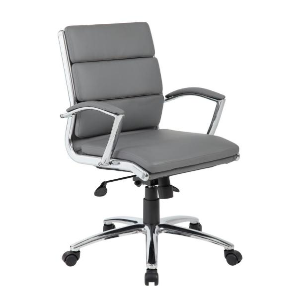 Boss Grey Executive CaressoftPlus Chair with Metal Chrome in Mid-Back