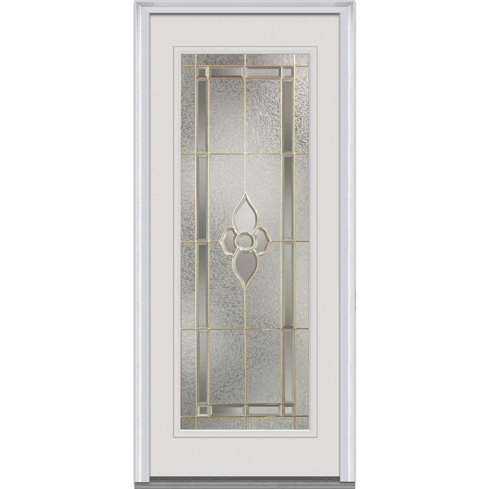 MMI Door 34 in. x 80 in. Master Nouveau Left-Hand Inswing Full Lite Decorative Primed Fiberglass Smooth Prehung Front Door