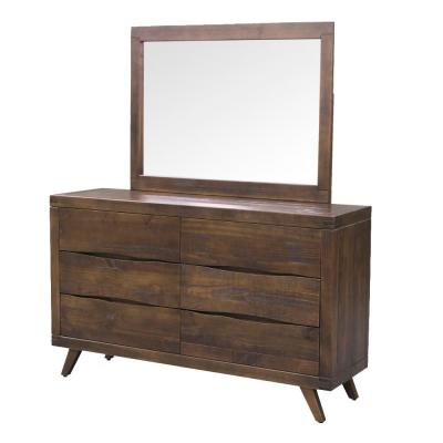 Pasco 69 in. x 64 in. x 17.3 in. Distressed Cocoa 6-Drawer Dresser and Mirror