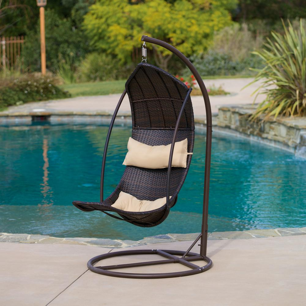 Noble House Brown Wicker Patio Swing