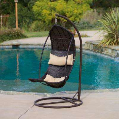 Brown Wicker Patio Swing