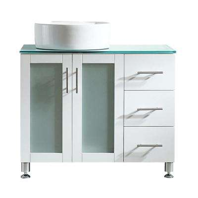 Tuscany 36 in. Bath Vanity in White with Tempered Glass Vanity Top in Green with White Vessel Sink