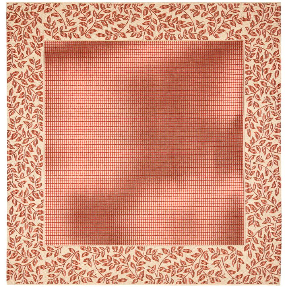 Indoor Outdoor Rugs Square: Safavieh Courtyard Red/Natural 7 Ft. 10 In. X 7 Ft. 10 In