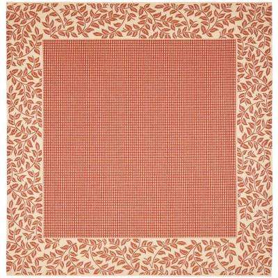 Courtyard Red Natural 8 Ft X Indoor Outdoor Square Area