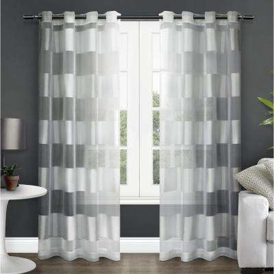 Navarro Winter White Striped Sheer Grommet Top Window Curtain