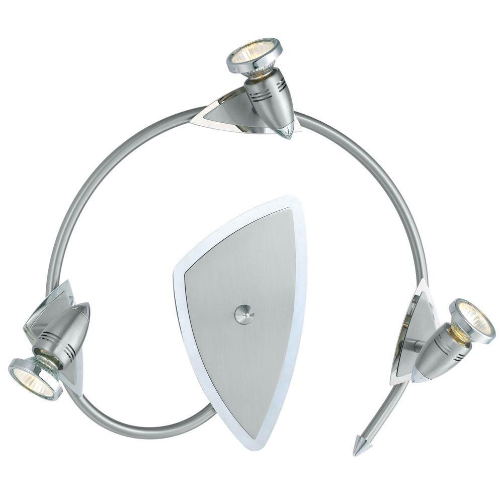 Wave 3-Head Matte Nickel Track Lighting Fixture