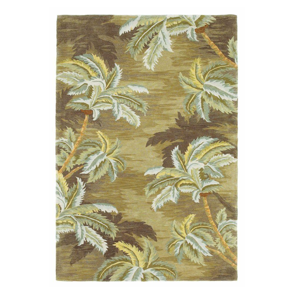 Kas Rugs Wavy Palm Moss 3 ft. 6 in. x 5 ft. 6 in. Area Rug