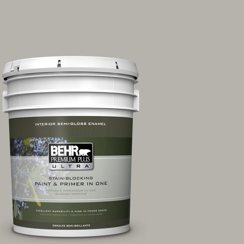 5 gal. #PPU24-11 Greige Semi-Gloss Enamel Interior Paint