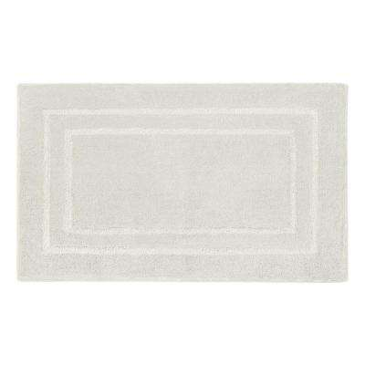 Pearl Double Border Cream Puff 20 in. x 32 in. Bath Mat