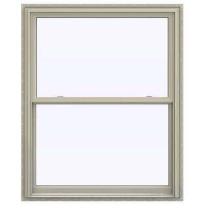43.5 in. x 59.5 in. V-2500 Series Desert Sand Vinyl Double Hung Window with BetterVue Mesh Screen