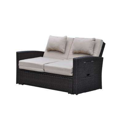 Miranda Wicker Outdoor Day Bed with Dove Cushions