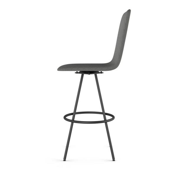 Amisco Braga 26 In Quilted Dark Grey Fabric Black Metal Swivel Counter Stool 44563 26q 25qa The Home Depot