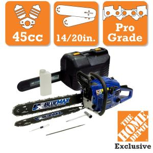 Click here to buy Blue Max 2-In-1 20 inch and 14 inch 45cc Gas Chainsaw Combo with Blow Molded Case by Blue Max.