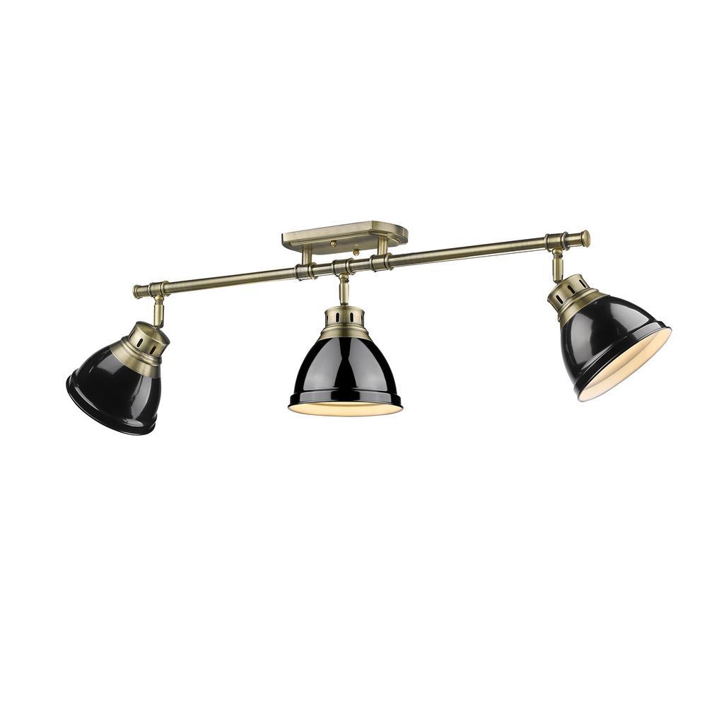 Golden Lighting Duncan AB 3-Light Aged Brass Semi-Flush Mount Light