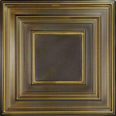 Schoolhouse 2 ft. x 2 ft. PVC Lay-in or Glue-up Ceiling Panel in Antique Brass (100 sq. ft. / case)