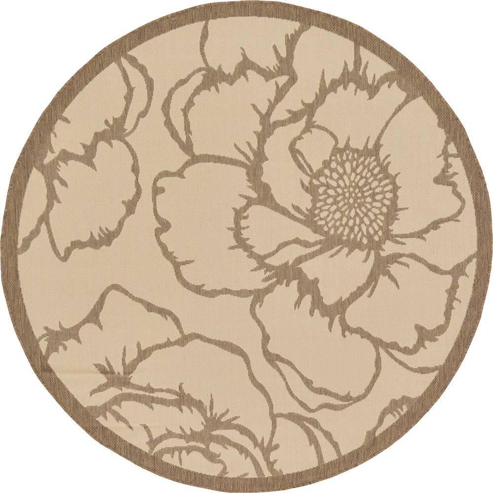 Outdoor Rose Beige 6' 0 x 6' 0 Round Rug