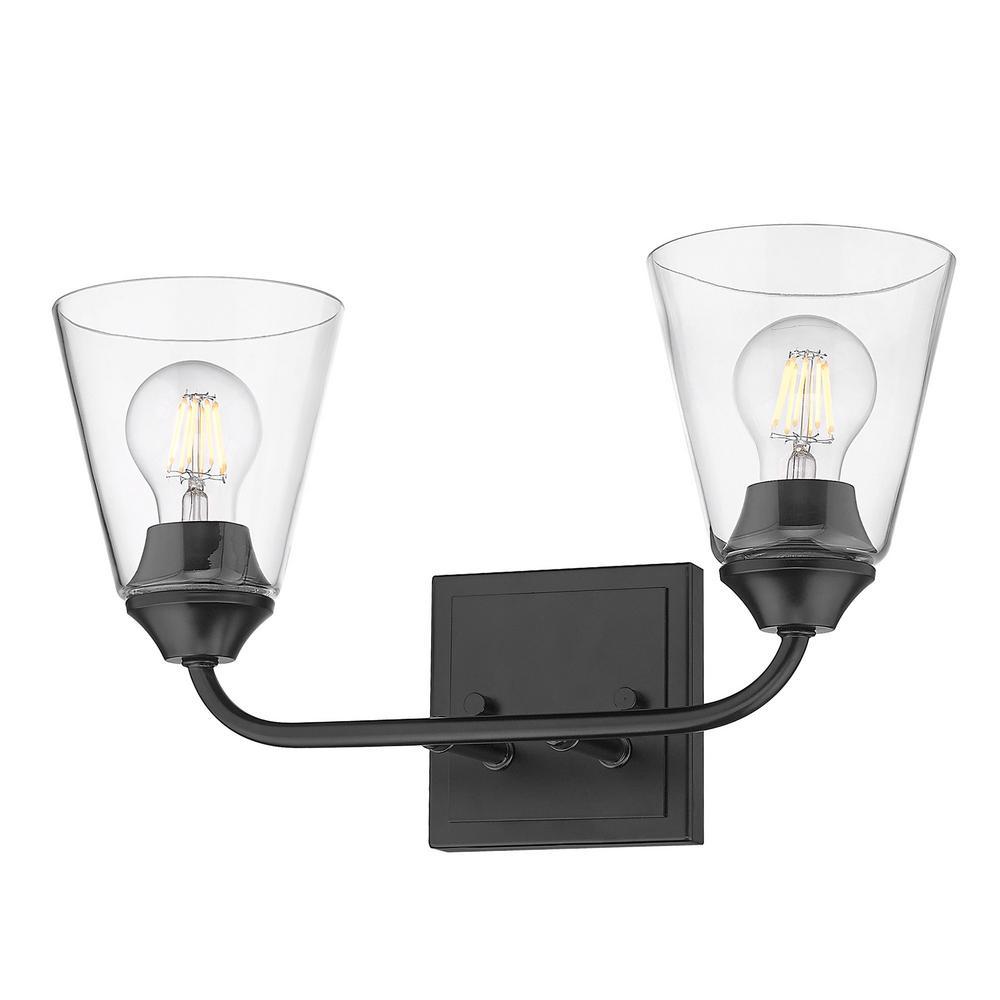 Ormond 4.375 in. 2-Light Matte Black Vanity Light