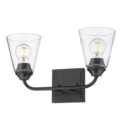 Ormond 4.375 in. 2-Light Matte Black Vanity Light
