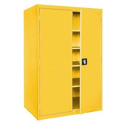 Elite Series 78 in. H x 46 in. W x 24 in. D 5-Shelf Steel Recessed Handle Storage Cabinet in Yellow