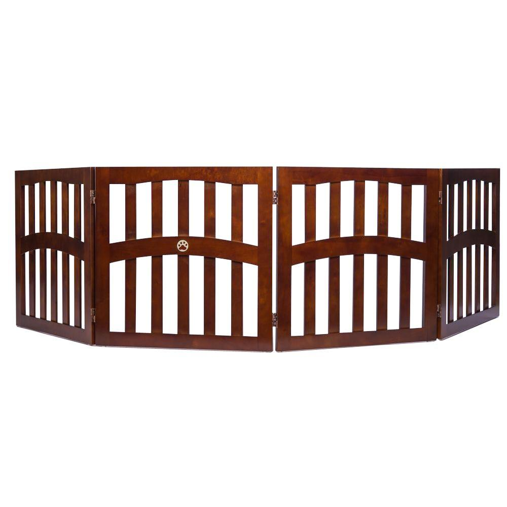 Ethan Pets Molly's 4 Panels 32 in. x 96 in. Free Standing Wood Walnut Dog Gate with Dual Hinge