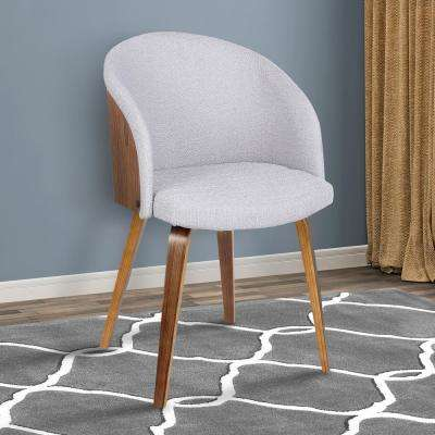 Alpine 31 in. Gray Fabric and Walnut Wood Finish Mid-Century Dining Chair