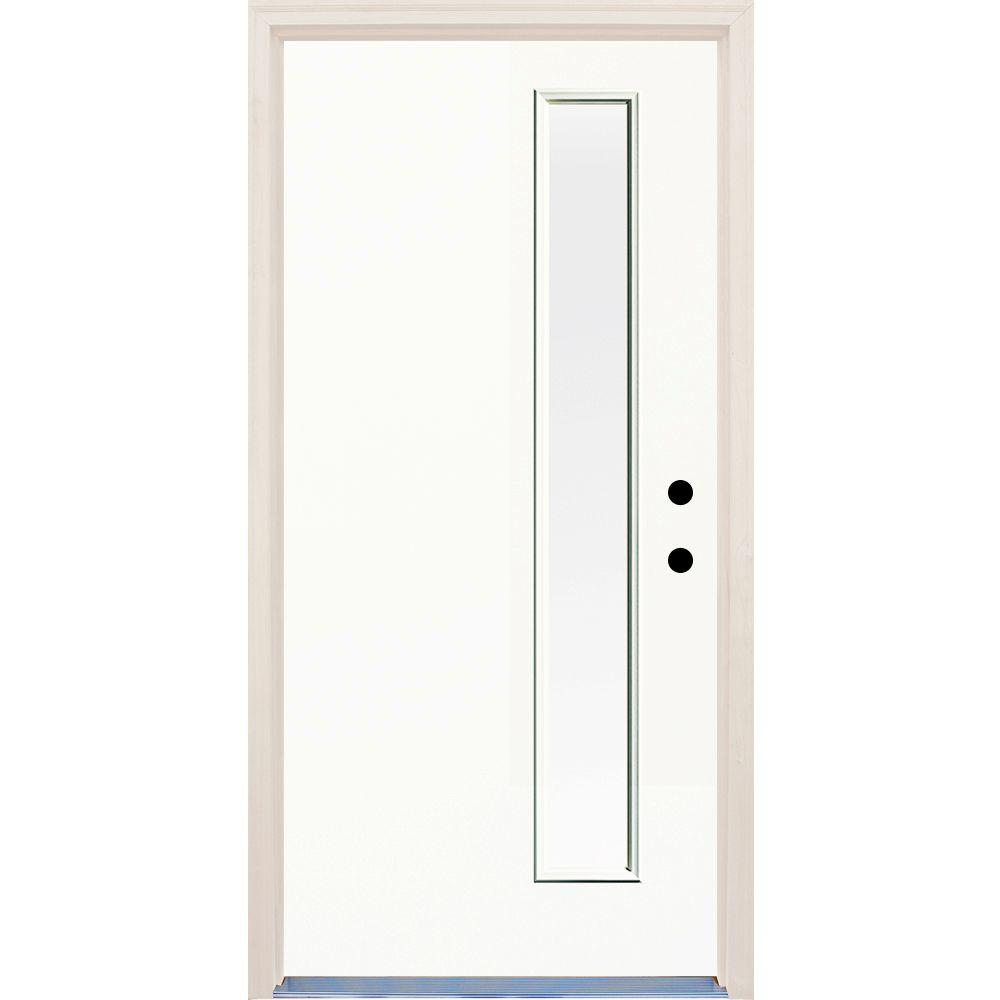 Builder's Choice 36 in. x 80 in. Classic 1 Lite Clear Glass Painted Fiberglass Prehung Front Door with Brickmould