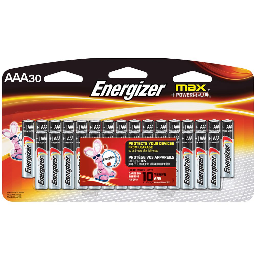 Energizer Max Alkaline Aaa Battery 30 Pack E92sbp30h The Home Depot How To Make A Simple Dry Cell Charger Circuit