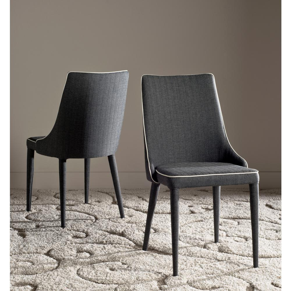 Safavieh Summerset Gray/White Piping 19 In. H Linen Side Chair (Set Of  2) FOX2014J SET2   The Home Depot