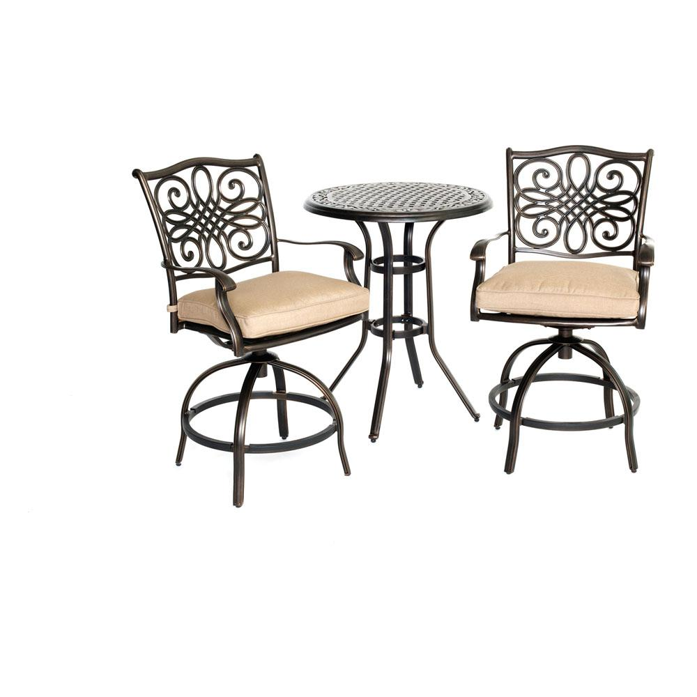 Seasons 3-Piece Aluminum Outdoor Bar Height Dining Set with Tan Cushions