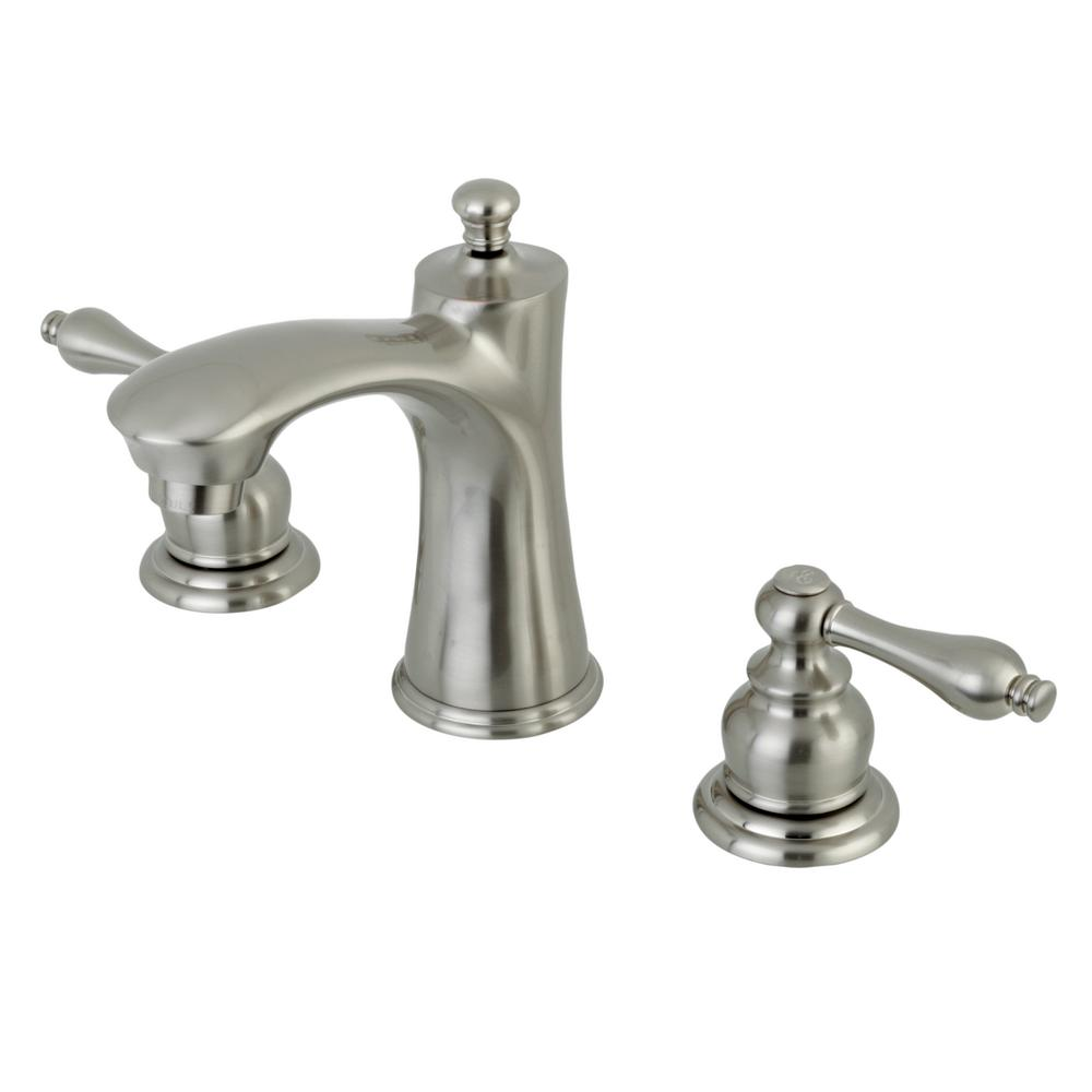 8 in. Widespread 2-Handle High-Arc Bathroom Faucet in Satin Nickel
