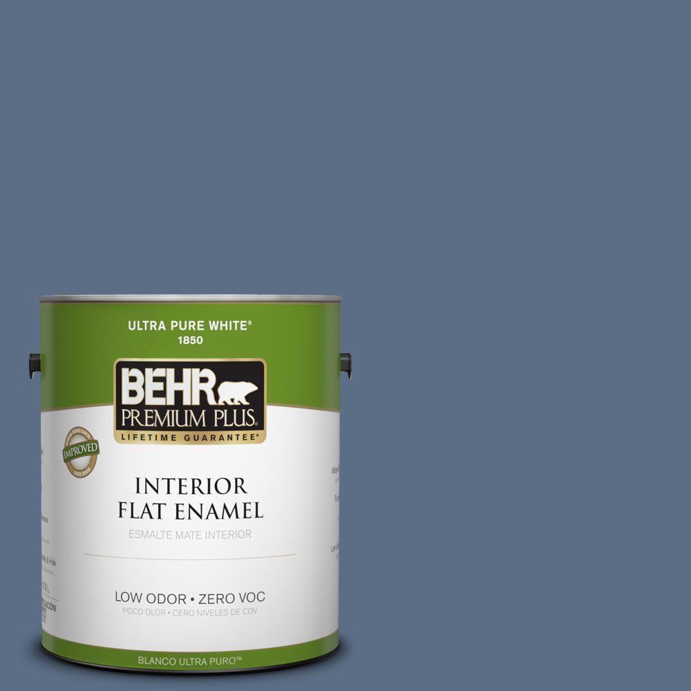 BEHR Premium Plus 1-gal. #ECC-57-3 Always Indigo Zero VOC Flat Enamel Interior Paint-DISCONTINUED