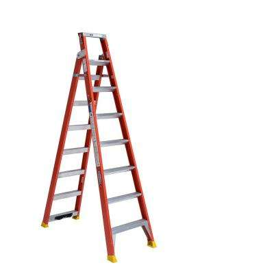 17 ft. Reach Fiberglass 2-in-1 Dual Purpose Ladder with 300 lb. Load Capacity Type IA Duty Rating