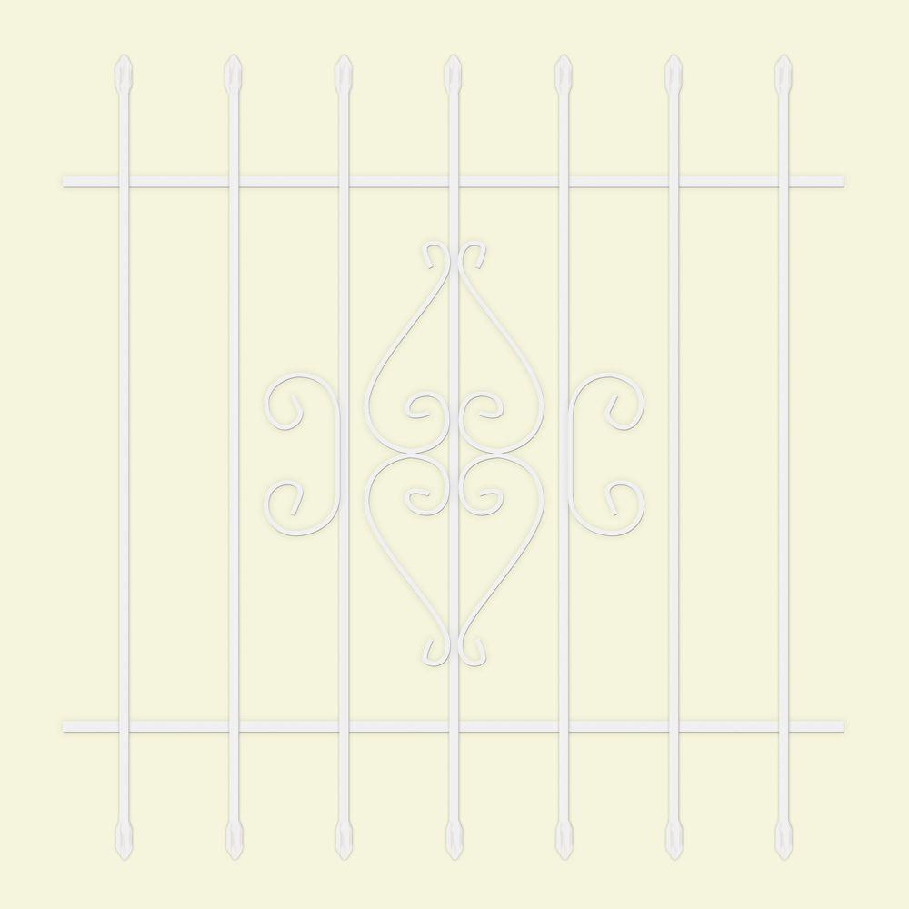 Unique Home Designs 42 in. x 42 in. Su Casa White 7-Bar Window Guard
