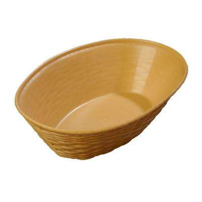 9.06 in. x 6.25 in. Polypropylene Oval Serving Basket in Straw (Case of 12))