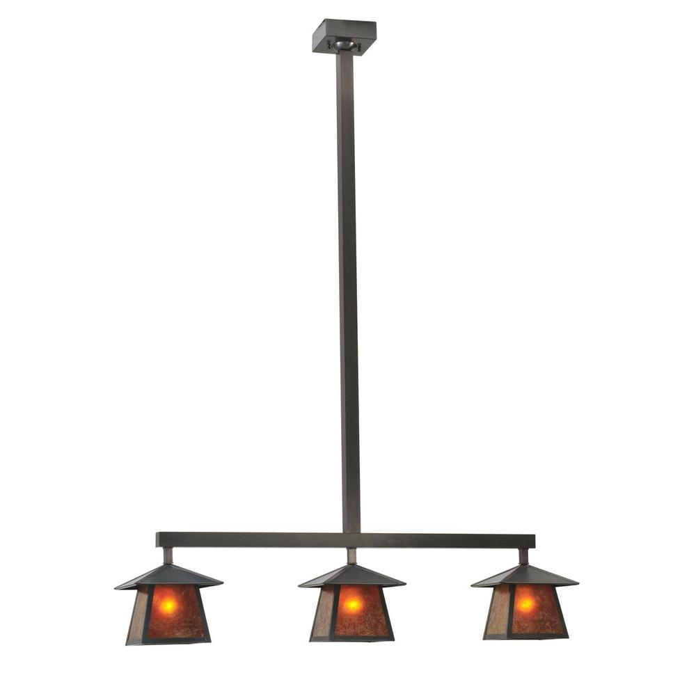 Illumine 3 Light Stillwater Plain Pendant Mica Glass Craftsman Brown Finish