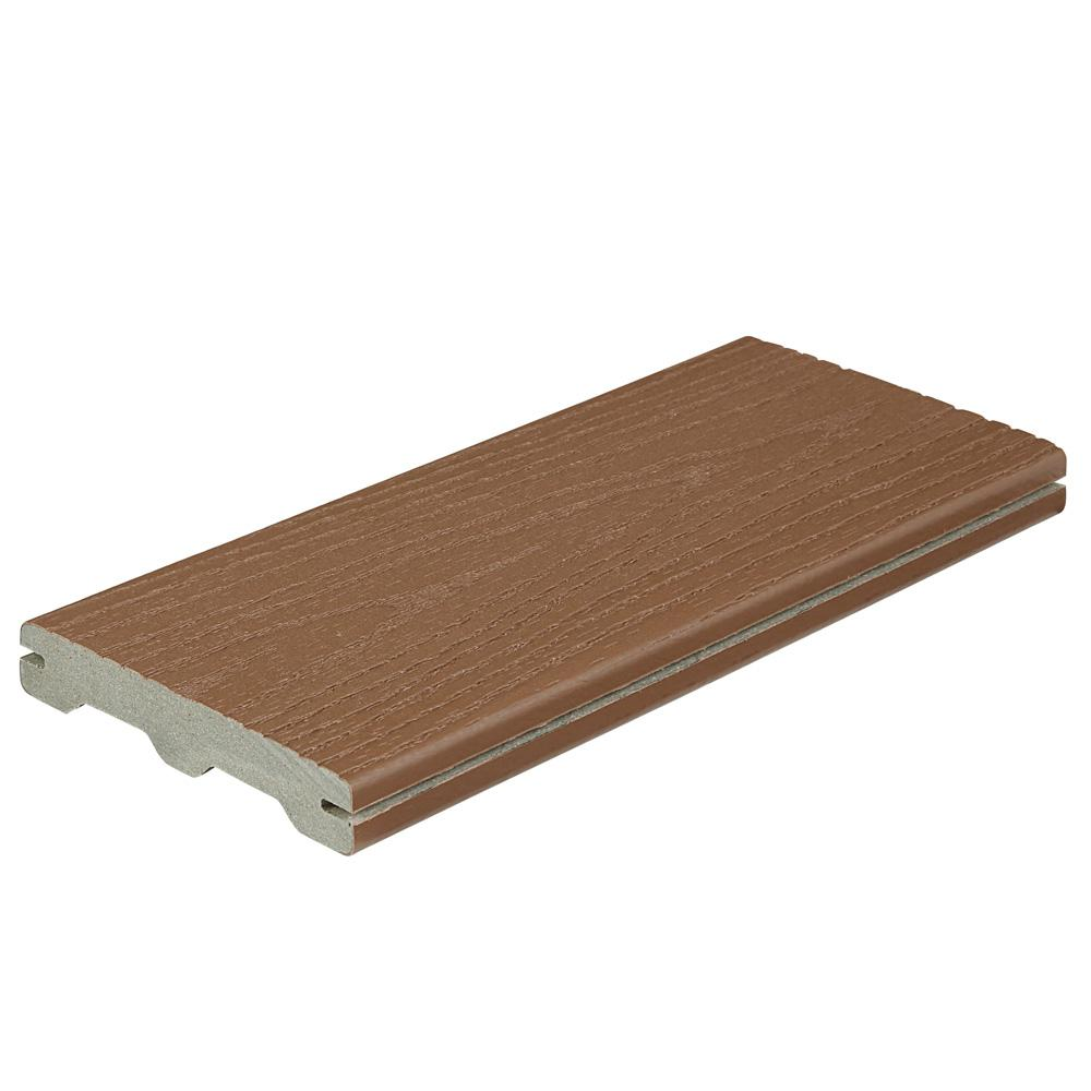 Fiberon Good Life 1 in. x 5-1/4 in. x 1 ft. Cabin Grooved Edge Capped Composite Decking Board Sample