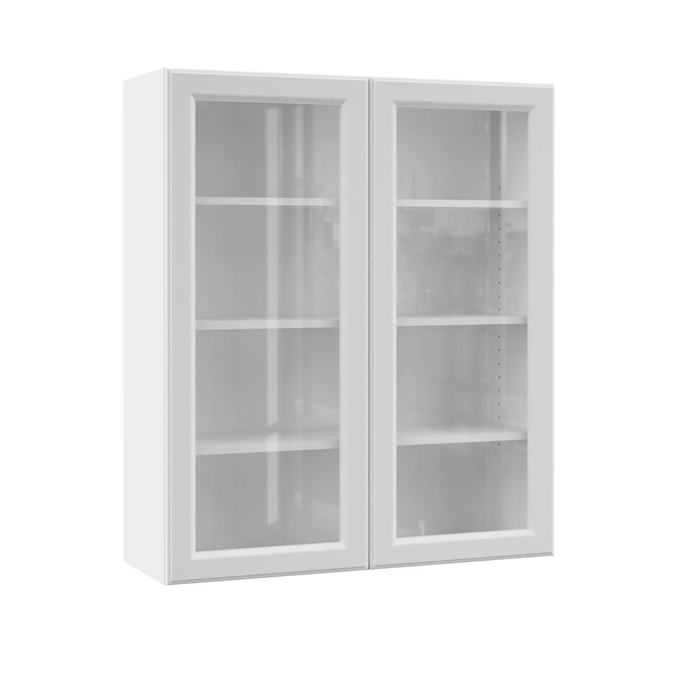 Hampton Bay Designer Series Elgin Assembled 36x42x12 in. Wall Kitchen  Cabinet with Glass Doors in White
