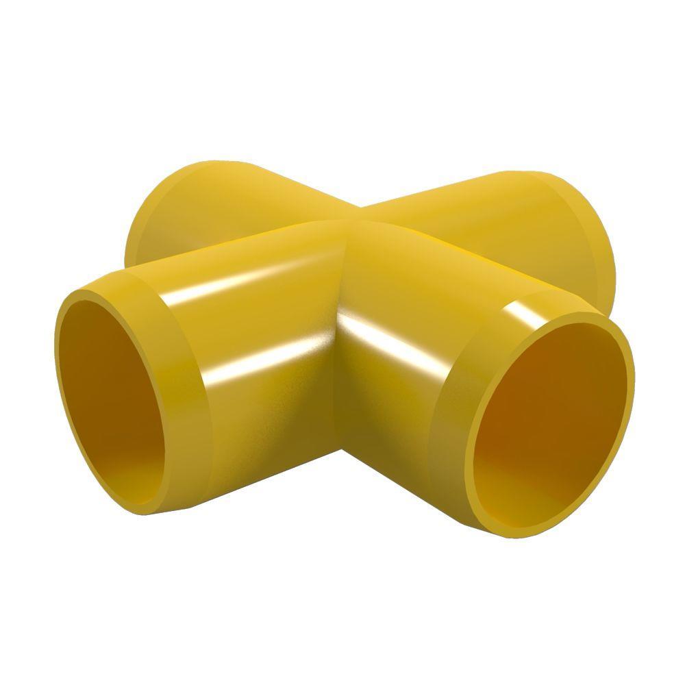 Formufit 1 in. Furniture Grade PVC Cross in Yellow (4-Pack)