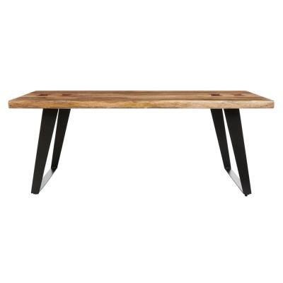 Cosbyrne Rectangular Dark Natural Finish Wood Coffee Table with Metal Base (48 in. W x 19 in. H)
