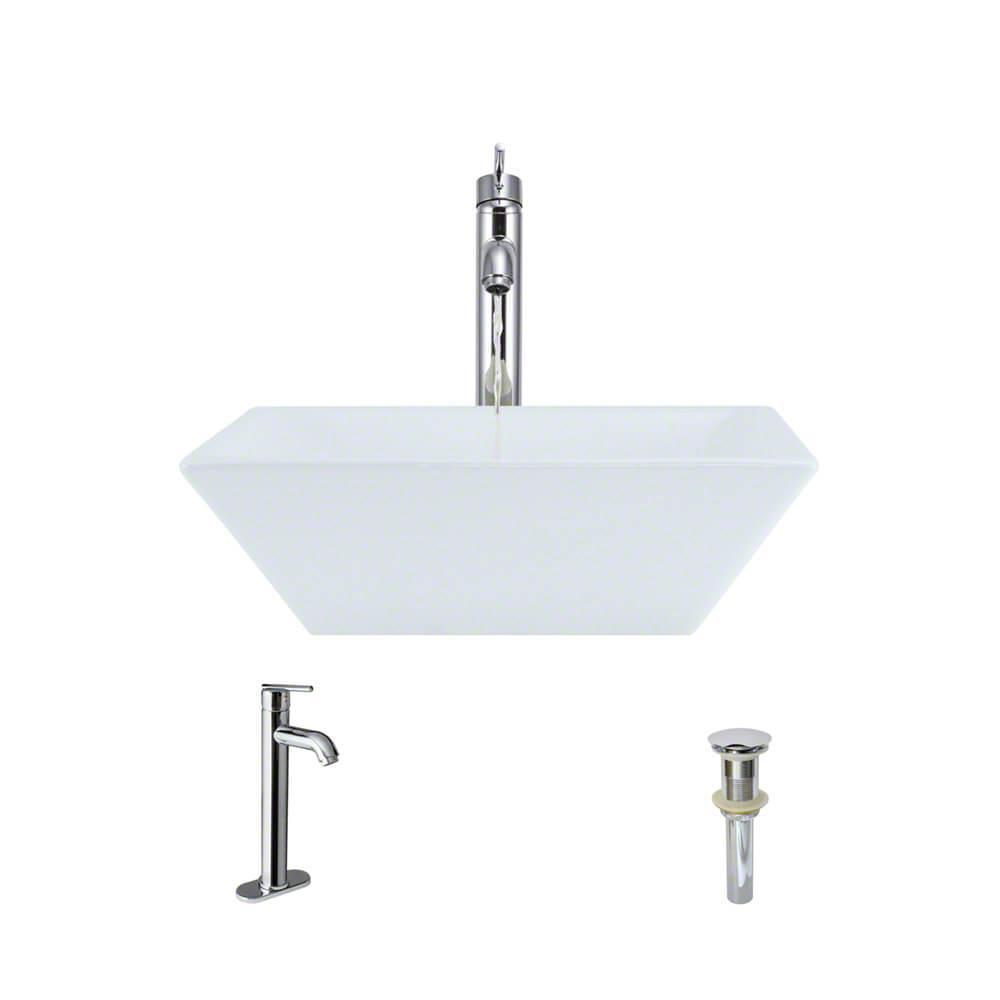 Porcelain Vessel Sink in White with 7001 Faucet and Pop-Up Drain