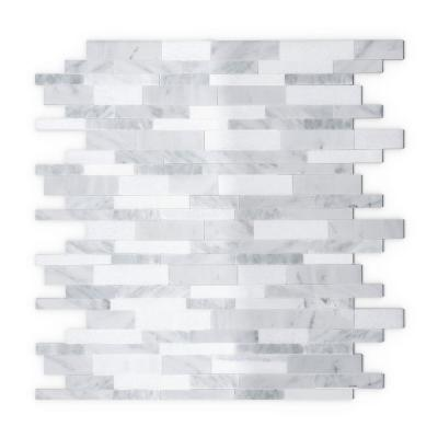 Gray Agate White and Gray 11.65 in. x 11.34 in. x 5 mm Stone Self-Adhesive  Wall Mosaic Tile (11.04 sq. ft. /case)