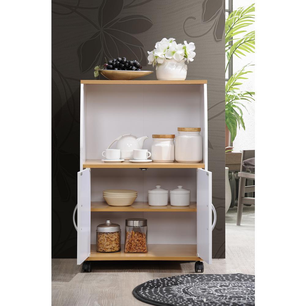 Kitchen Appliance Cabinet: Rolling Microwave Cart Shelf Drawer Storage Cabinet Home