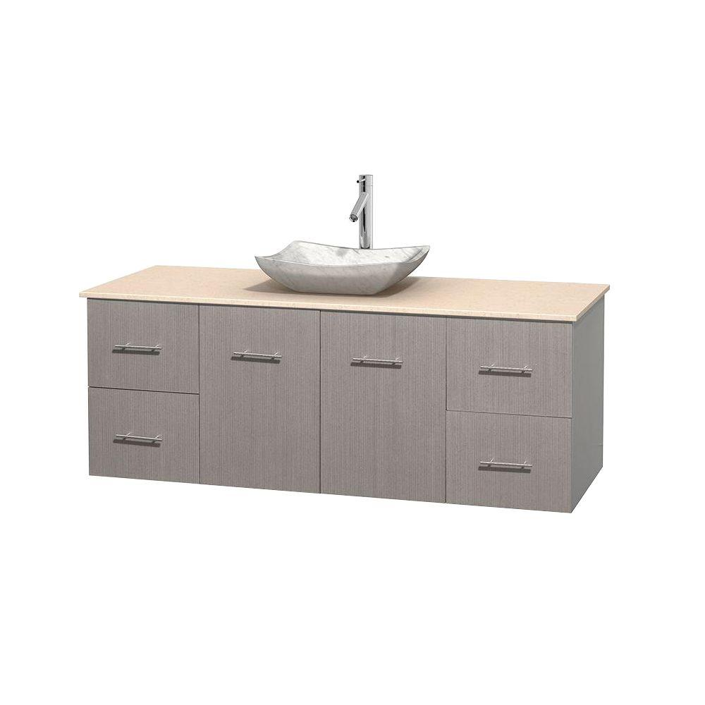Wyndham Collection Centra 60 in. Vanity in Gray Oak with Marble Vanity Top in Ivory and Carrara Sink